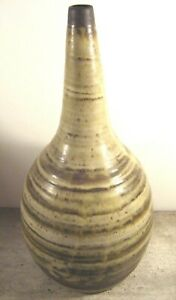 Large-Heavy-Vintage-Signed-Mid-Century-Studio-Art-Pottery-Brown-Onion-Vase