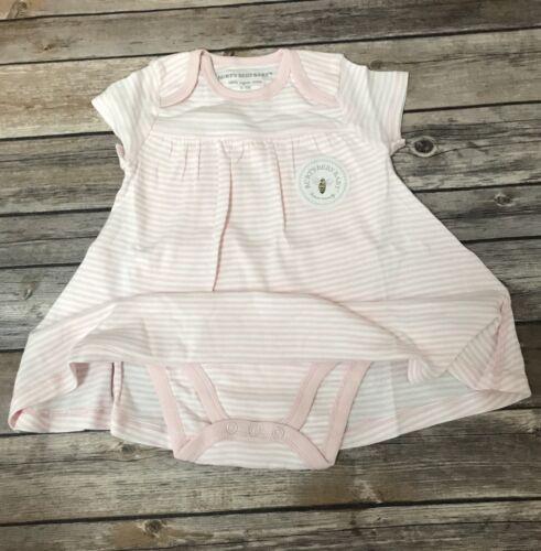 Burt/'s Bees Baby Girl 100/% Organic Cotton Stripe Dress Pink 3-6m 18m 6-9m 12m