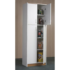 Storage Cabinets For The Kitchen Pantry Tall 4-Door White Organizer Cupboard