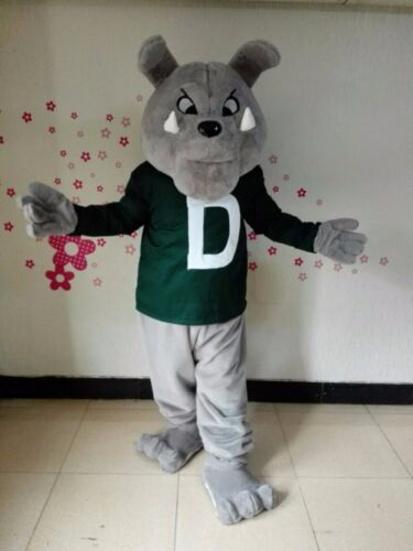 Details about  /Grey Bulldog Mascot Costume Suit Cosplay Party Game Dress Outfit Halloween Adult
