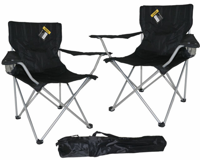 2X BLACK FOLDING CAMPING CHAIR FESTIVAL HIKING FISHING GARDEN INDOOR OUTDOOR NEW