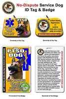 Service Dog Id Tag With Badge Ptsd Custom Photo Id For Pet Customized Yellow