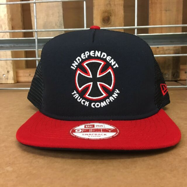 New Independent Men s Navy Cardinal Bauhaus Cross New Era Trucker 9 Fifty  Hat OS 965cf1810564