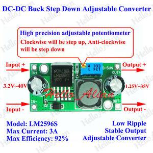 LM2596S DC-DC Buck Step Down Converter 3-40V to 3.3V 9V 12V 24V 3A Adjustable