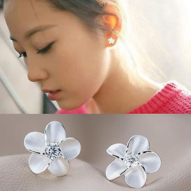 New Chic Fashion Women's Silver Plated Flower Type Ear Stud Earrings Gift