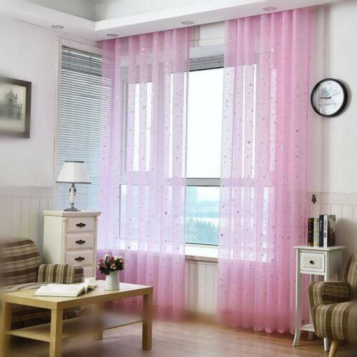 White Star Tulle Modern Curtains for Living Room Transparent Window Drape Sheer