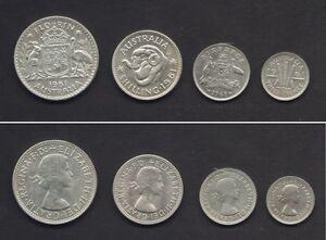 AUSTRALIA-1961-Melb-4-Pce-Silver-Proof-Set-3d-6d-1-2-SCARCE