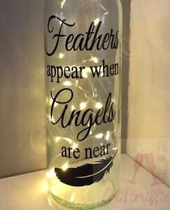 FEATHERS APPEAR WHEN ANGELS ARE NEAR MEMORIAL WINE BOTTLE VINYL - Vinyl stickers for glass bottles