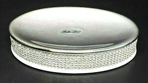 BELLA LUX Oval Soap Dish BATHROOM ACCESSORY White RHINESTONES CRYSTALS Bling NWT
