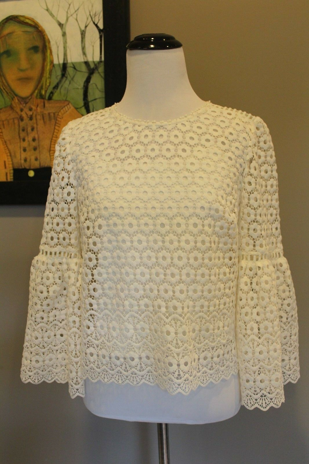 NEW J Crew Daisylace Bell Sleeve Top in Ivory Sz 0 XS G9911 Sold Out Online