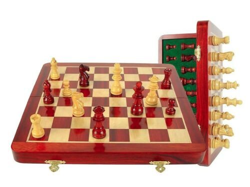 "12"" Wooden Chess Set Travel Magnetic Folding Board Bloodwood House of Chess"