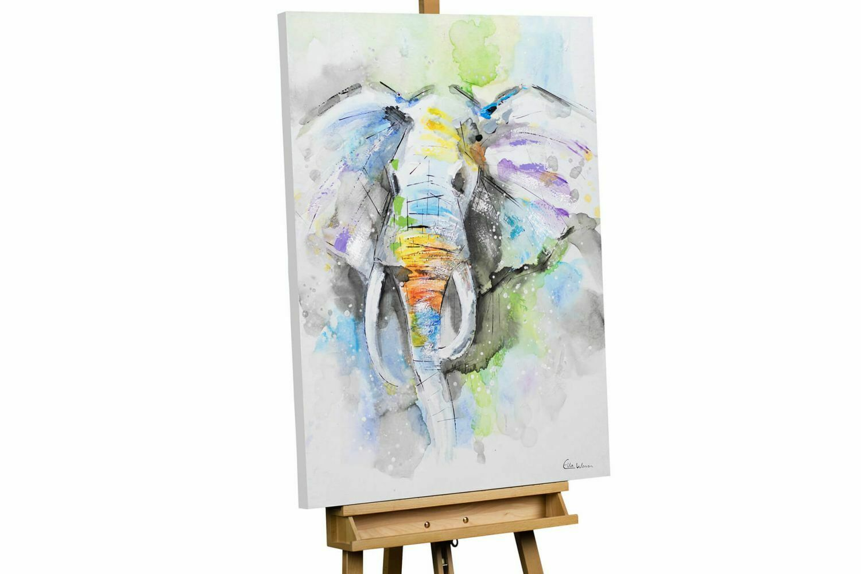 Acryl Gemälde 'ELEPHANT GRAU BLAU TIER'   HANDGEMALT   Leinwand Bilder 75x100cm