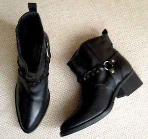 TOPSHOP-BLACK-GENUINE-LEATHER-BIKER-ANKLE-BOOTS-SHOES-NEW