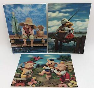Lot-of-3-Vintage-3D-Lenticular-Postcard-Greeting-Cards-3-Pigs-Fisherman-RF689