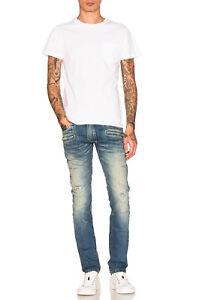 BALMAIN-1785-Authentic-New-Skinny-Blue-Distressed-Biker-Jeans
