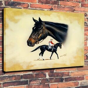 Art Quality Canvas Print, Oil Painting Thoroughbred Horse, Puffin, Ruffian16x20