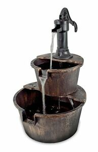 Water-Fountain-Barrel-With-Pump-Bronze-Soothing-Water-Sounds-Garden-or-Indoors