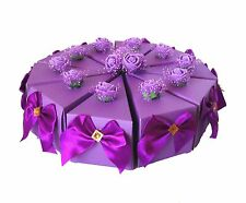 10pc Purple Paper Wedding/Party Gift Favor Candy Box With Silk Bows and Roses
