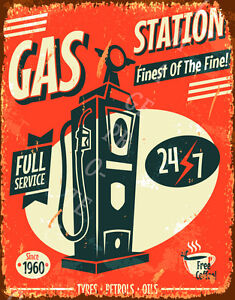 Gas Station Full Service Large Metal Tin Sign Vintage Style Old