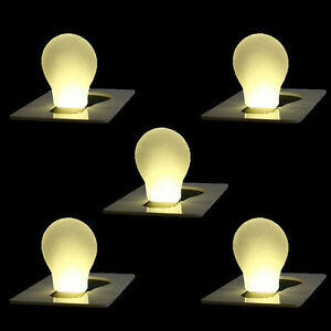 5pcs portable credit card size wallet purse pocket led night light bulb lamp ebay. Black Bedroom Furniture Sets. Home Design Ideas