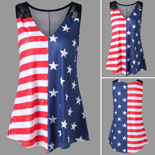 Independence Day Women American Flag Print Lace Insert V-Neck Tank Tops Shirt