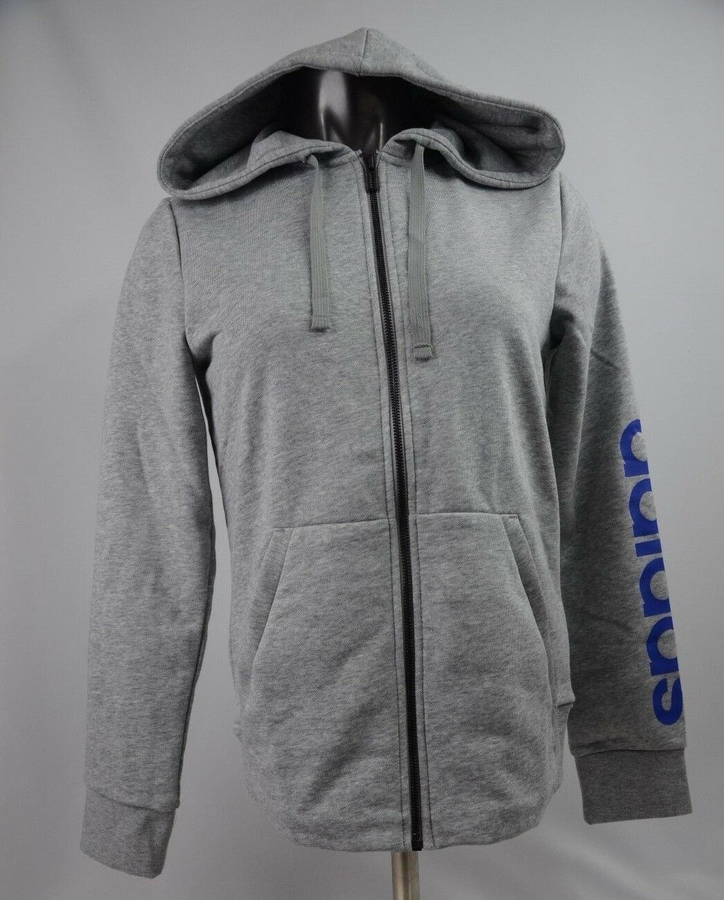 Adidas Essential Hoodie Grey bluee Women's Size S-L New with Tags DM3308