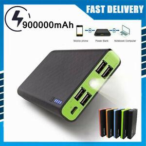 900000mAh Power Bank 4USB Portable Fast Charging External Battery LED Charger