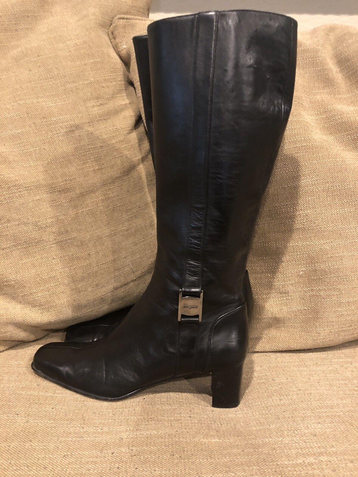 Salvatore Ferragamo Ferragamo Ferragamo Black Knee High Leather Boots- Size 7B 6ae93f