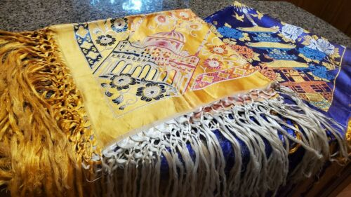 Vintage Taj Mahal Silk Piano Shawl Scarf Tableclot