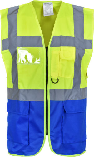 HiVis Work//Safety//Recovery Executive 2 Tone Zip Vest Pocket waistcoat Size S-4XL