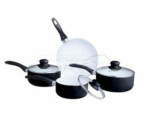 7pc-Ceramic-Non-Stick-Cookware-Set-Saucepan-Pot-Glass-Lid-Fry-Frying-Pan-BLACK