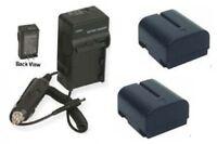 2 Batteries + Charger For Jvc Gr-dvl600 Gr-dvl707 Gr-dvl720 Gr-dvl725 Gr-dvl805u