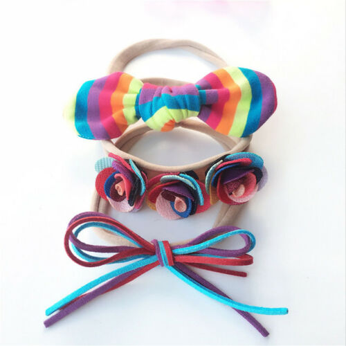 Cute Flower Bowknot Girl Headbands Elastic Hairband Children Hair Accessories CB