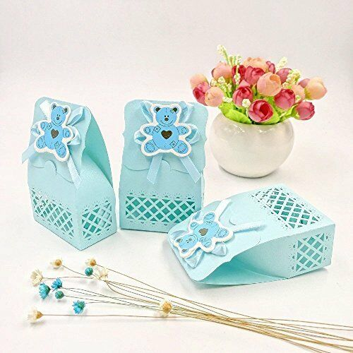 JZK 24 Blue baby shower favour box boy sweet box for baby boy birthday party