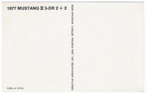 1977 Ford MUSTANG II 3-Dr 2+2 Original Dealer Promotional Postcard UNUSED VG+//Ex