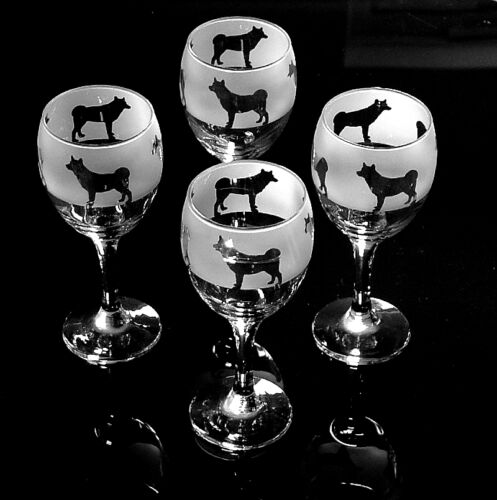 Husky Dog Wine Glasses hand crafted design...Boxed