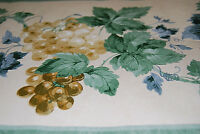 Golden Yellow Grapes On Grapevine, Leaves, Wallpaper Border W1204