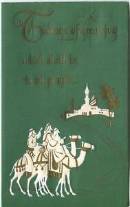 VINTAGE CHRISTMAS CAMELS BETHLEHEM WISE MEN GREEN WHITE GOLD EMBOSSED ART CARD