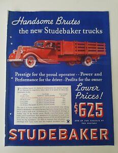 1934 Red Studebaker Truck Handsome Brutes Prestige Power Performance Profits Ad Ebay