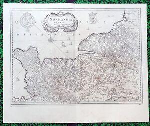 XVII-eme-Duche-de-Normandie-Belle-Carte-par-Janssonius-57-x-47-cm-Editee-1640