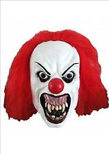 Scary Evil Clown Halloween IT Clown Mask With Red Hair Adult Fancy Dress P6865