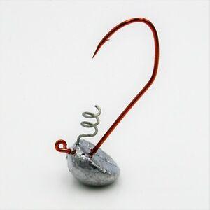 10 pk 5//8 oz Round Head Bass Walleye Fishing Jigs Bronze Sickle Hooks