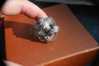 Barbara Bixby Sterling & 18k Multi-gemstone Abalone Lily Pad Frog Ring Sz 5