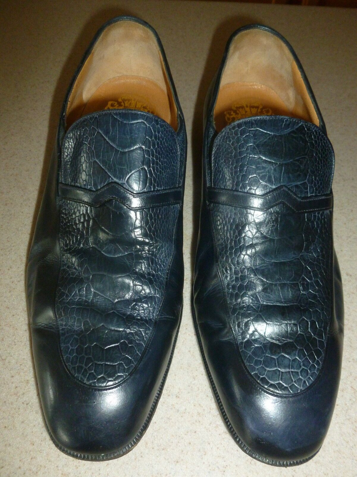 Johnston Murphy Universal Limited Addition Italy Navy Leather Shoes Loafers 8W