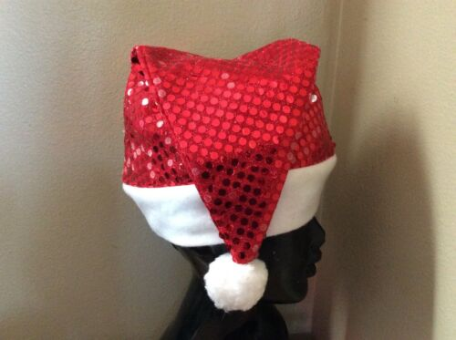 Sparkly Red Sequin Santa Stocking Hat Cap christmas party holiday glitz