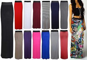 New-Womens-Ladies-Pencil-Striped-Bodycon-High-Waist-Tube-Wiggle-Long-Maxi-Skirt