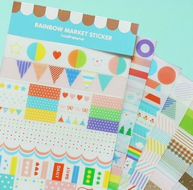 6 sheets rainbow market transparent office diary book album decorative stickers