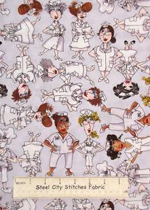 Nurse-Medical-RN-LPN-Doctor-Hospital-Gray-Cotton-Fabric-Loralie-By-The-Yard