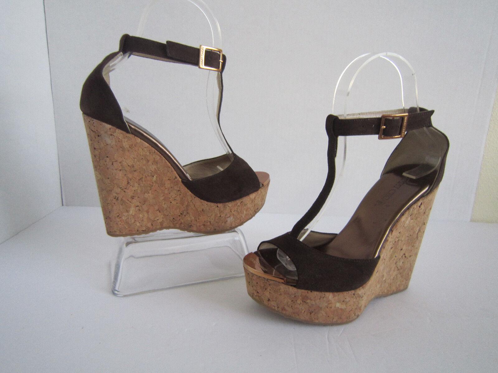 Jimmy Choo Pela T Strap Bar Cork Wedge Wedge Wedge Sandals Sz 35.5 ac7edd