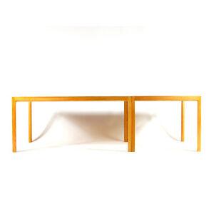 1-of-2-Retro-Vintage-Danish-Bernt-Petersen-Beech-Side-Coffee-Table-Modern-60s